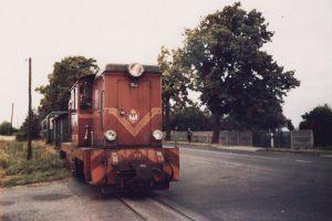 Lxd2-313 na przejeździe przez ulicę Braci Łukowskich w Witkowie.
