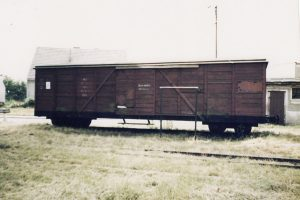 Wagon Kddx na stacji w Powidzu.