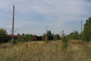 Lublin Północny - rzędy porzuconych wagonów.