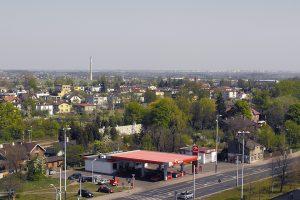 Widok z bloku na panoramę Retkinii.
