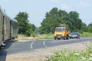 ślad po trójszynowej przeszłości odcinka w pobliżu Sochaczewa.