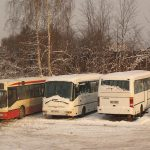 Zajezdnia Brus - autobusy MAN i oba Solbusy.