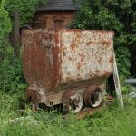 Wagonik kopalniany.